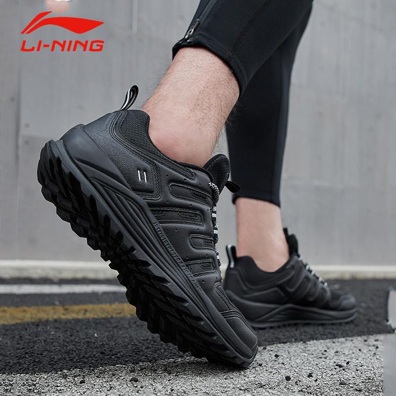李宁跑步鞋男鞋纯黑色全黑耐磨防滑越野鞋登上户外徒步低帮运动鞋