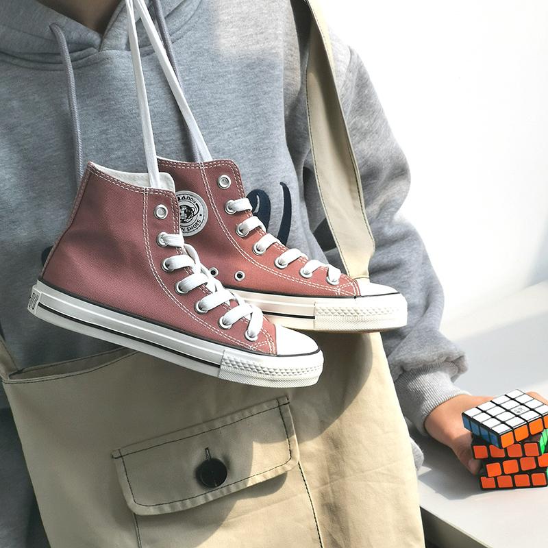 环球高帮女鞋2019春季新款ins学生少女心韩版1970s豆沙色帆布鞋女