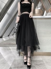 CHICYOU 黑色名媛风腰部闪闪钉珠高腰层次百褶百搭半身仙女纱裙