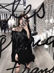 CHICYOU 黑色缎面拼接网纱心机半露肩宽松显瘦长袖不对称衬衫上衣