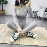 Pregnant women Qiuyi Qiuku suit cotton postpartum feeding clothes nursing pajamas thermal underwear autumn and winter months clothes spring and autumn