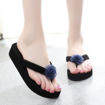 新款拖鞋女夏时尚外穿坡跟凉拖鞋韩版厚底人字拖防滑海边沙滩拖鞋