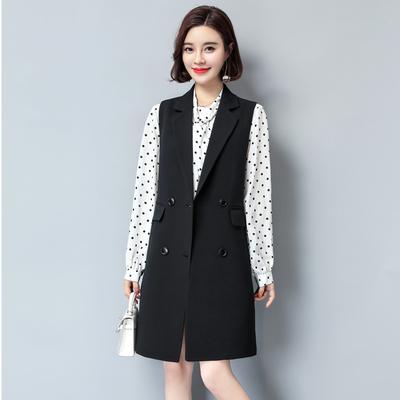秋款马甲女2018新款韩版中长款大码无袖西装女士马甲宽松秋冬外套