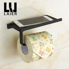 LYLE莱尔卫浴 橡皮漆纯黑色304不锈钢可置物手机纸巾架 浴室挂件