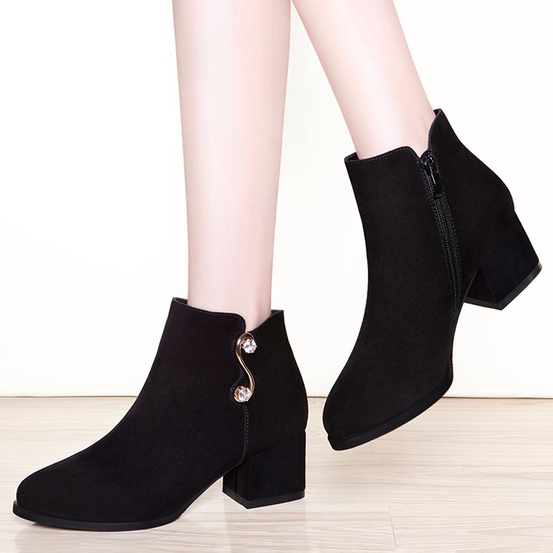 女靴短靴粗跟翻毛皮