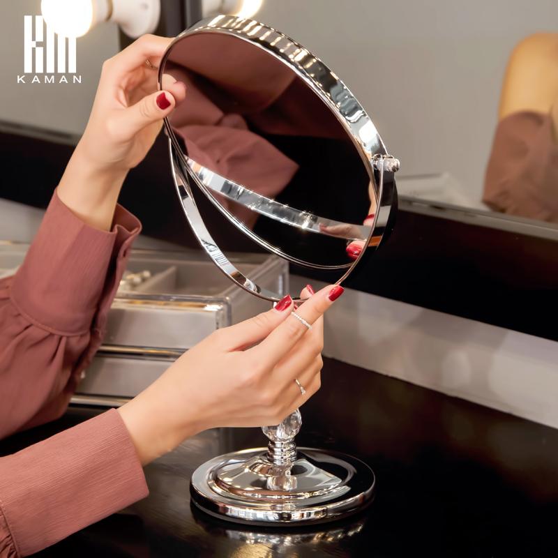 网红化妆镜台式大号公主镜双面高清桌面欧式美容便携镜子梳妆镜