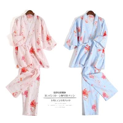女士纯棉睡衣夏季春秋薄款双层纱布短袖日系和服家居服汗蒸服浴衣