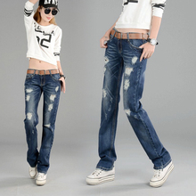 Spring and Autumn 2009 New Low-waist Hole Straight Cylinder Jeans Female Fitness Slim Jeans Straight Cylinder Trousers Female Pants Tide