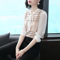 真丝衬衫女2018春装新款高端女装韩版长袖宽松显瘦飘带桑蚕丝上衣
