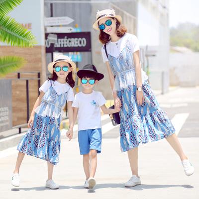 亲子装夏装2019新款潮春装全家连衣裙一家三口母子网纱母女装套装