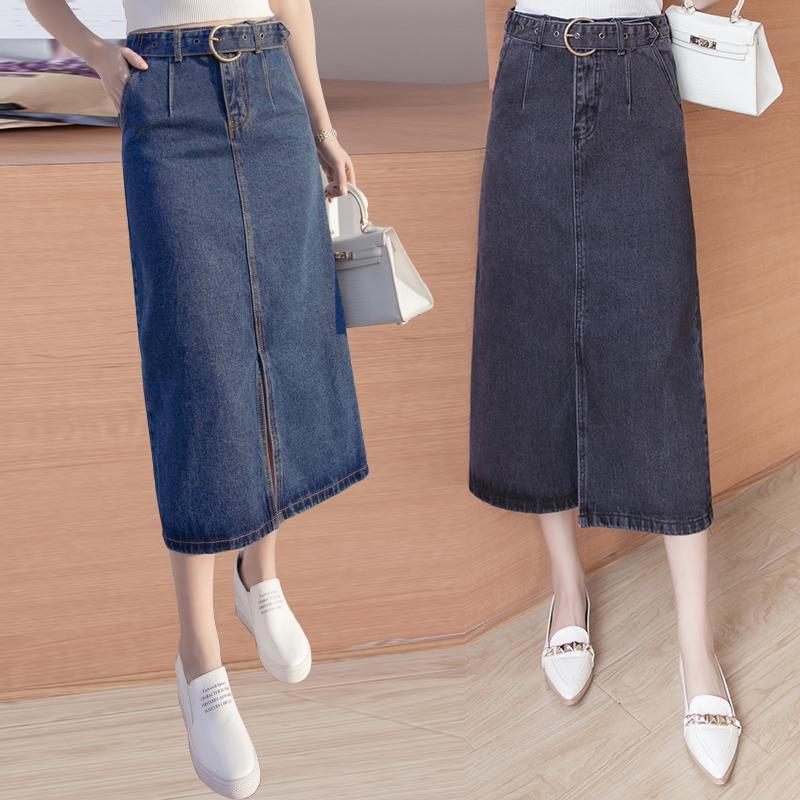 2018新款韩版系带修身百搭高腰牛仔半身长裙女开叉包臀A字中长裙