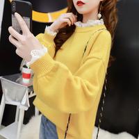 很仙的毛衣女假两件蕾丝网红春季2018新款宽松韩版洋气针织衫上衣