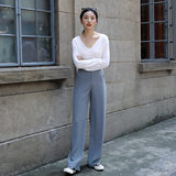 Amazing Lozi's homemade drop-down suit pants drag-down pants women's new Korean version of high-waisted loose-fitting wide-legged pants