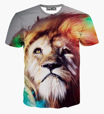 欧美3d短袖t恤男个性动物狼狗狮子图案男装立体创意衣服半袖T恤女