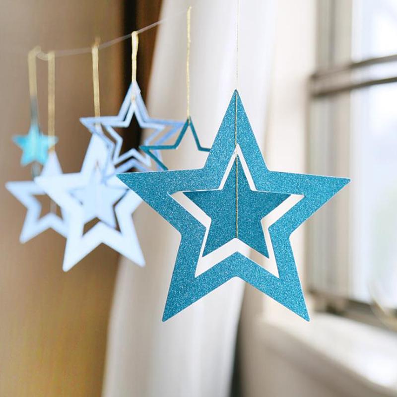 端午节装饰品镂空五角星装饰挂件商场教室橱窗吊顶店铺节庆装扮品