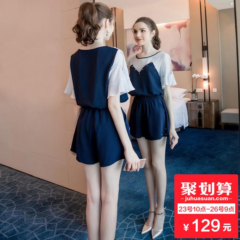 奢姿大码女装胖MM时尚气质套装女夏季2018新款加肥加大新潮两件套