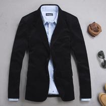 奢华贵族 男装英伦修身灯芯绒西装 简约休闲丝绒西服平绒西装外套