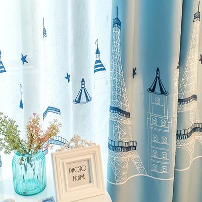 窗帘成品现代简约遮光客厅卧室地中海特价棉麻亚麻纱帘儿童房飘窗实体店
