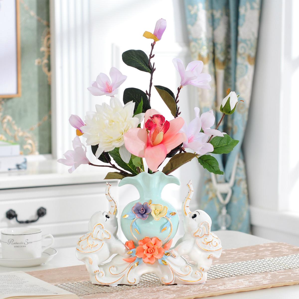 大象欧式陶瓷花瓶客厅酒柜装饰品摆件结婚礼物送闺蜜创意家居玄关