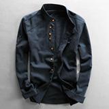 文艺立领亚麻衬衫男长袖纯色复古休闲修身棉麻中国风麻布料衬衣男