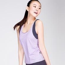 沙洛尔新品春夏瑜伽服单件锦纶上衣健身房运动衣背心款修身含胸垫