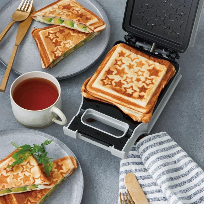 日本recolte简约纯色 3分钟快手早餐 颜值神奇 格子三明治机