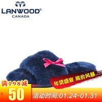 lanwood2017澳洲进口羊皮毛一体家具女士可爱一字羊毛拖鞋