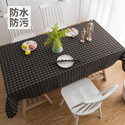 美式田園黑色格子防水桌布布藝棉麻茶幾餐桌布長方形黑白臺布圓桌網店網址