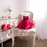Princess skirt girls fluffy children's dress flower girl wedding dress baby birthday birthday red spring summer evening dress