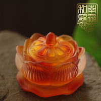 Home Buddha Hall imitation glass holy water cup water cup lotus water supply cup Buddha Hall tribute cup candlestick oil lamp multifunction