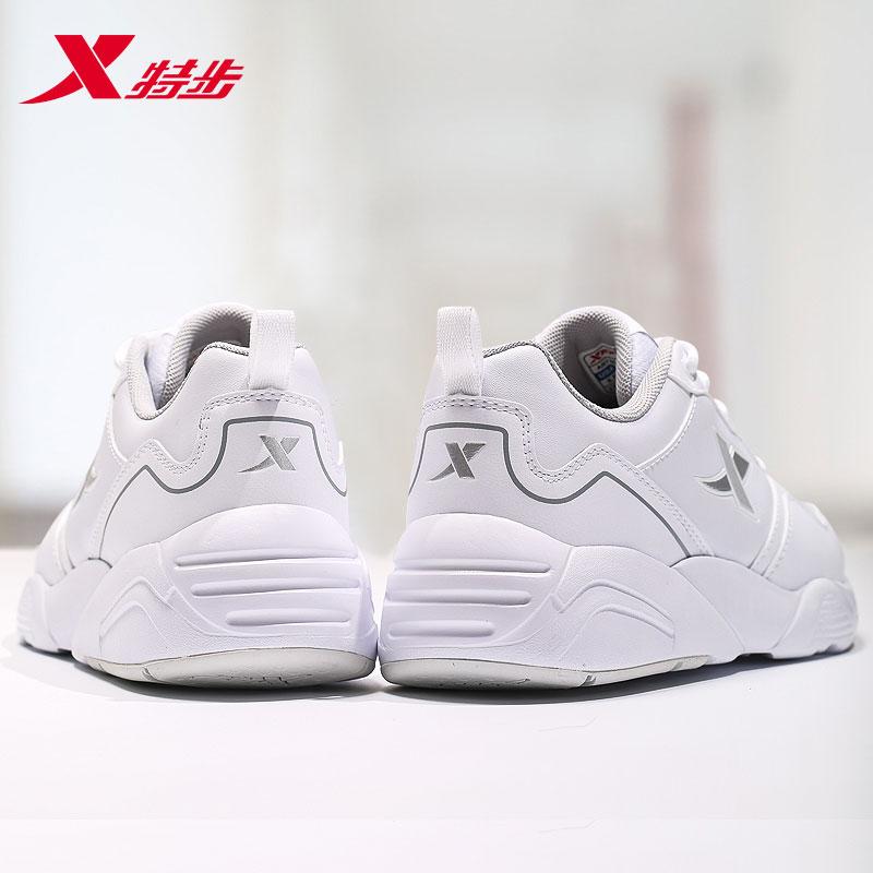 特步女鞋运动鞋女2018新款夏季休闲鞋白色网面2019春季透气跑步鞋