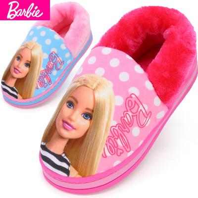 芭比儿童拖鞋女童鞋冬季新款室内防滑家居可爱小公主包跟保暖棉拖