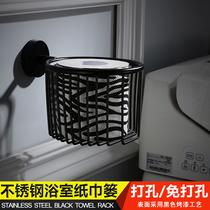 不锈钢免打孔纸巾架厕所卷纸筒架浴室欧式黑色卫生间擦手机盒304