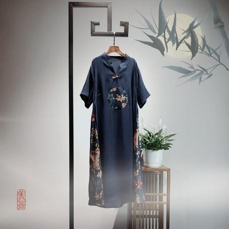 妈妈春装气质连衣裙2019新款中老年女夏装民族风女装裙子高贵洋气商品大图