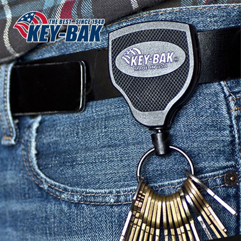 美国KEY-BAK S48K凯夫拉绳防丢可伸缩钥匙扣 拉伸120CM伸缩钥匙圈