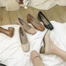 2018新款韩版百搭粗跟奶奶鞋女复古浅口高跟单鞋女方头百搭中跟鞋