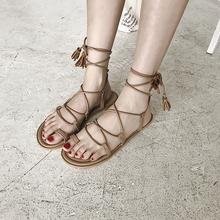 女夏 罗马鞋 南在南方韩国chic百搭交叉绑带流苏平底鞋 夹脚圆头凉鞋图片