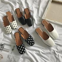 2018夏季新款韩版粗跟方头中跟时尚懒人半拖鞋女鞋百搭包头拖鞋女