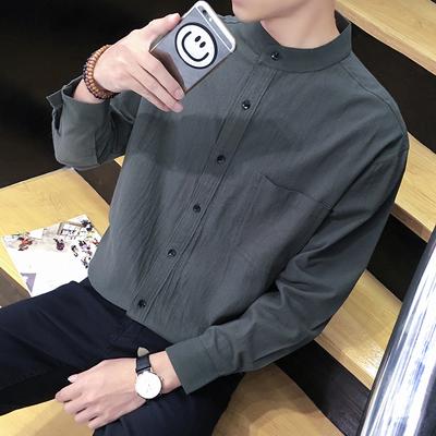 男士衬衣冬季修身韩版潮流帅气长袖衬衫休闲寸衫衣服外套打底衫bf