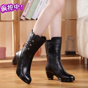 妈妈棉靴女靴连根保暖加绒防滑女靴中跟软皮中筒真皮靴冬防滑粗跟