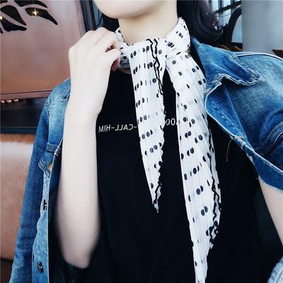新款韩国ins超过褶皱波点小方巾领巾女百搭装饰压皱丝巾围巾发带