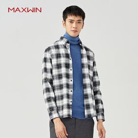 MAXWIN马威春秋衬衫法兰绒时尚打底上衣潮男格子衬衫春上装