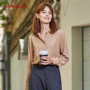 MAXWIN马威女士秋季衬衫气质修身纯色百搭简约时尚打底秋装女上衣
