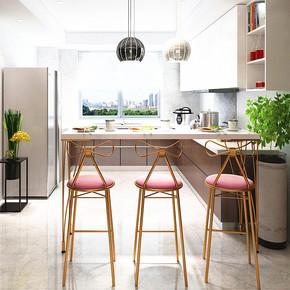 北欧简约家用靠墙小吧台桌餐厅客厅隔断铁艺实木长条高脚桌椅组合