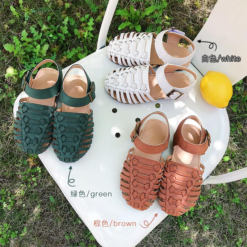 橙子童装 韩国童鞋女童夏季凉鞋文艺风格编织鞋闪闪软底罗马鞋子