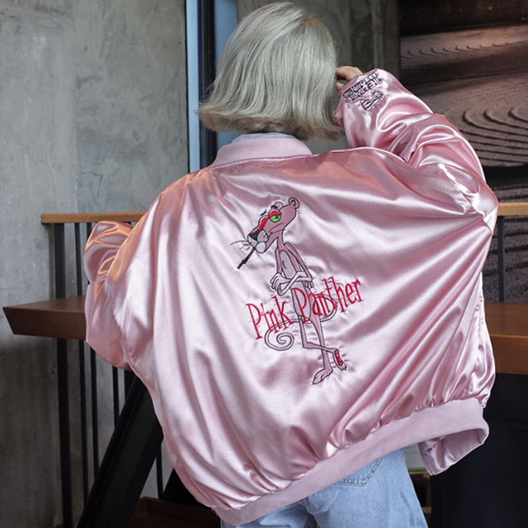 pilot jacket BF loose satin pink embroidery Cartoon baseball women's spring and autumn