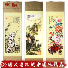 Silk painting scroll paintings, traditional crafts, foreign affairs, Chinese style, gifts, foreigners, overseas gifts, pandas