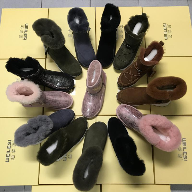 工厂断码清仓女靴真皮真毛大棉保暖绒里羊毛雪地靴防滑底冬季短靴