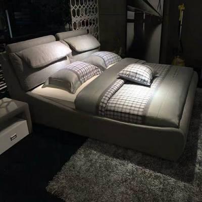 布床布艺床双人床北欧轻奢ins网红床现代简约婚床CBD储物床布艺床
