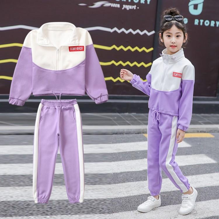 女童运动套装春秋薄款中大童装小学生儿童休闲拉链开衫卫衣两件套